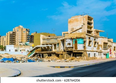 KUWAIT CITY, KUWAIT, NOVEMBER 5, 2016: View of a destroyed house in the central Kuwait. Many houses in the whole country have been destroyed during Iraqi invasion in 1991.