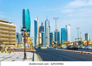 KUWAIT CITY, KUWAIT, NOVEMBER 5, 2016: View of traffic on a busy street in the central Kuwait.