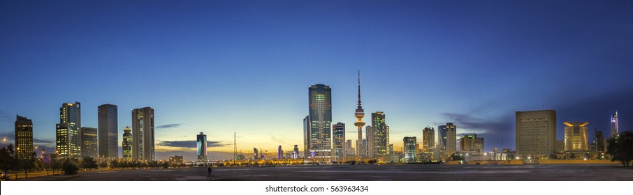 Kuwait City Scape, Kuwait, January 18th 2017. The Golden Blue Skies of the city at dusk. A rare view to behold and cherish as most of the seasons here are hot, humid and dry. Season to explore.