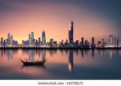 Kuwait city skyline during sunset