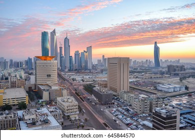 Kuwait city skyline skyscrapers during sunrise in the capital city of Kuwait