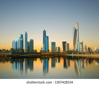 kuwait city skyscrapper view during sunset