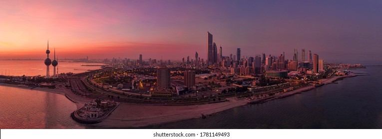 Kuwait City Sunrise with 3 Tower  and Panorama view, Droneshot