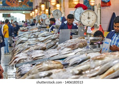 KUWAIT CITY/KUWAIT - April 11, 2019: Fresh fish and seafood on the counters of Fish market in Kuwait city
