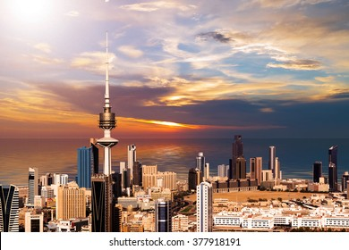 Kuwait cityscape during the sunset
