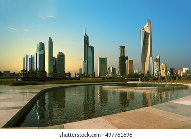 kuwait cityscape view from shaheed park during beautiful sunset