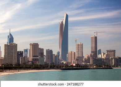 KUWAIT - DEC 8: Skyline of Kuwait City. The Al Hamra Tower in the middle. December 8, 2014 in Kuwait, Middle East