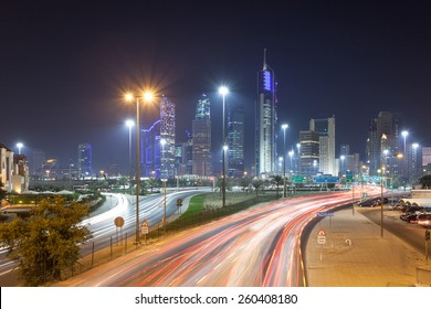 Kuwait downtown at ngiht. Kuwiat City, Middle East