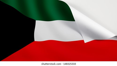 A Kuwait flag with a curl at the corner with blank space for text.