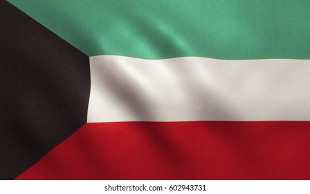 Kuwait flag with fabric texture.