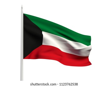 Kuwait flag floating in the wind with a White sky background. 3D illustration.