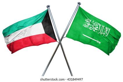 Kuwait flag with Saudi Arabia flag, 3D rendering