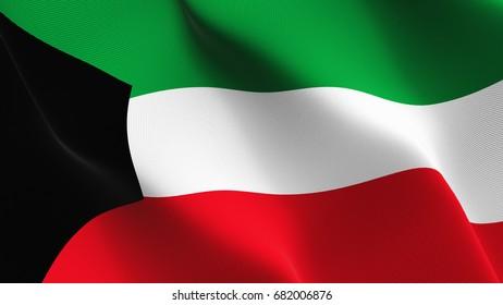 Kuwait flag waving on wind.