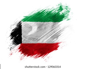 Kuwait. Kuwaiti flag  painted with brush on white background