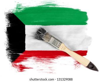 Kuwait. Kuwaiti flag  painted with brush over it