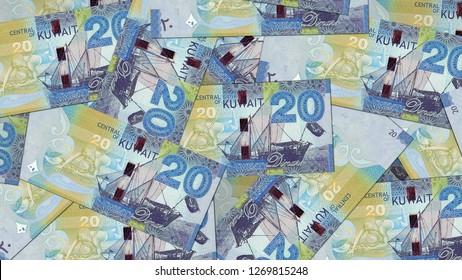 Kuwait KWD banknote as background wallpaper using 20 KWD twenty Dinars