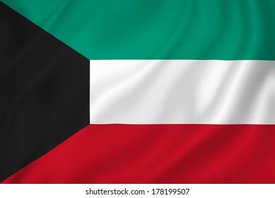 Kuwait national flag background texture.