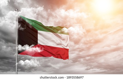 Kuwait national flag cloth fabric on cloud background - Shutterstock ID 1893558697
