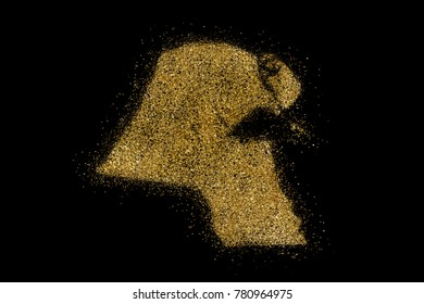 Kuwait shaped from golden glitter on a black background (series)