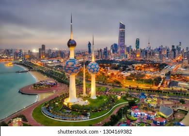 Kuwait Tower City Skyline glowing at night, taken in Kuwait City, Kuwait on the 27th of December 2018
