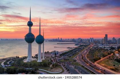 Kuwait Tower On Fire Sunrise Aerial