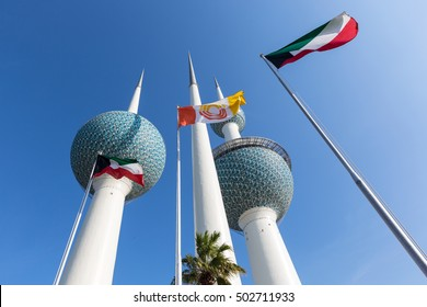 Kuwait Towers with flags