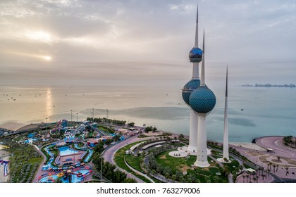 Kuwait towers in sunrise sky view