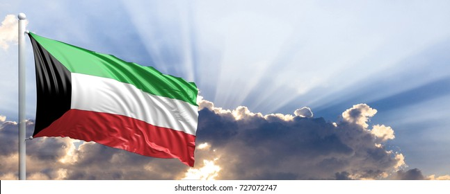 Kuwait waving flag on blue sky. 3d illustration
