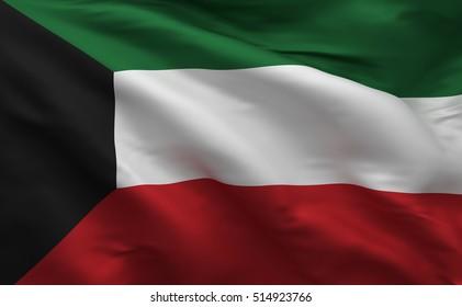 Kuwaiti 3D Flag Colors, Kuwait Banner (3D Render)