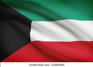 Kuwaiti flag blowing in the wind. Part of a series.