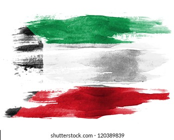 The Kuwaiti flag painted on white paper with watercolor