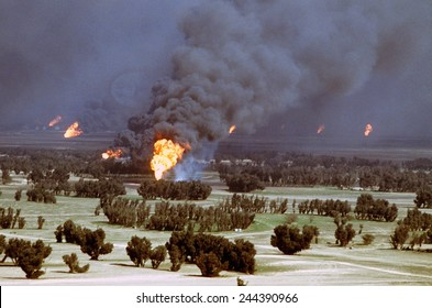 Kuwaiti oil wells were set on fire by retreating Iraqi forces during Operation Desert Storm. Mar. 2 1991