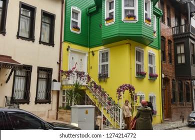 KUZGUNCUK, ISTANBUL, TURKEY- JANUARY 01, 2019: Historical colorful houses in KUZGUNCUK. Kuzguncuk is a neighborhood in the Uskudar .