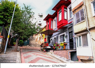 KUZGUNCUK, ISTANBUL, TURKEY- JULY 18, 2018: Historical colorful houses in KUZGUNCUK. Kuzguncuk is a old neighborhood in the Uskudar