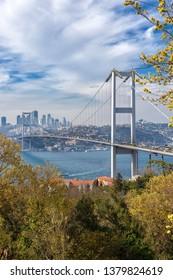 Kuzguncuk, Uskudar - April 07, 2019 : Bosphorus Bridge. (15th July Martyrs Bridge) General view of the Anatolian side and the European. Istanbul - TURKEY