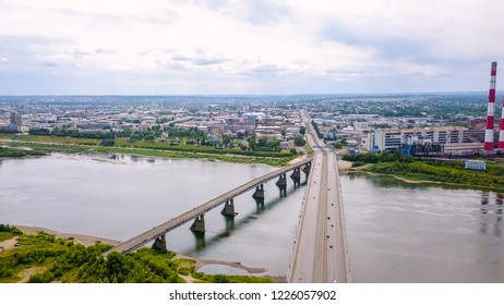 Kuznetsk bridge over the river Tom. Panoramic view of the city of Kemerovo. Russia, From Dron
