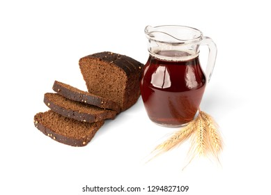 Kvass with rye bread isolated on white background.