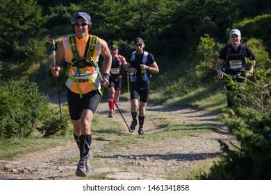 Kvasy, Rakhivskyi district / Ukraine - August 19, 2017: Ukrainian runners running trail marathon at mountains