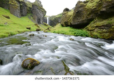 Kvernufoss Waterfall in Iceland Summer