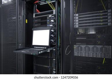 KVM OSD On screen display on Server rack in Data Center Server room