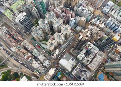 To kwa wan, Hong Kong, 03 April 2019: Top view of Hong Kong city