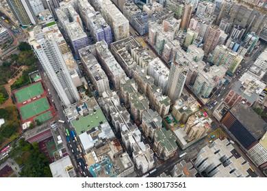 To Kwa Wan, Hong Kong 03 April 2019: Top view of Hong Kong city