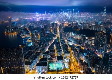 To kwa wan, Hong Kong 19 February 2019: Top view of Hong Kong city