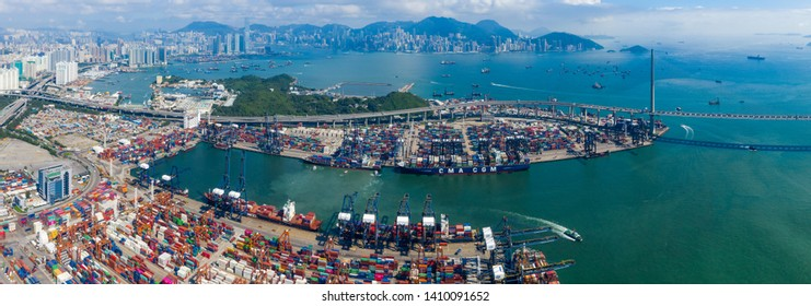 Kwai Chung, Hong Kong 15 May 2019:  Top view of Kwai Chung Cargo Terminal in Hong Kong