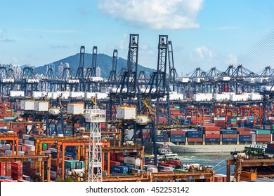 Kwai Chung, Hong Kong, China - June 21,2016:The container is loaded / unloaded at Kwai Tsing container terminals is the main port facilities in the channel between Kwai Chung and Tsing Yi Island