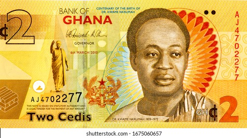 Kwame Nkrumah (1909 - 1972). First President of Ghana, Portrait from Ghana 2 Cedis 2015 Banknotes. An Old paper banknote, vintage retro. Famous ancient Banknotes. Collection.