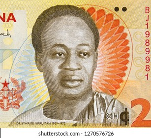 Kwame Nkrumah portrait on Ghana 2 cedi (2014) banknote. First prime minister and president of Ghana.