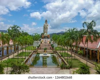Kwan Yin - Chinese Goddess of Compassion statue - Wat Bang Riang temple Krabi town Khao Lan mountain Phang Nga province Thailand