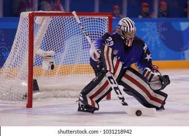 KWANDONG, SOUTH KOREA - FEBRUARY 13, 2018: Olympic champion Team USA goalkeeper Nicole Hensley in action against Team Olympic Athlete from Russia during Women's ice hockey preliminary round game