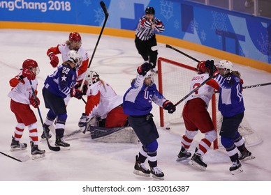 KWANDONG, SOUTH KOREA - FEBRUARY 13, 2018: Olympic champion Team USA scores against Team Olympic Athlete from Russia during Women's ice hockey preliminary round game